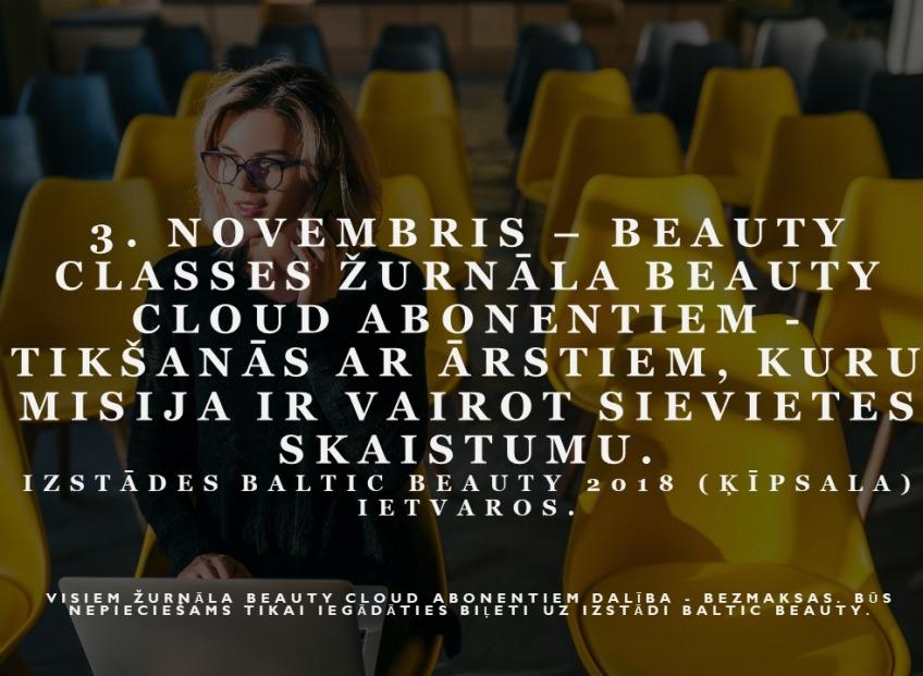 3 ноября – Beauty classes для подписчиков журнала BEAUTY CLOUD – встреча с врачами, отвечающими за женскую красоту и здоровье.